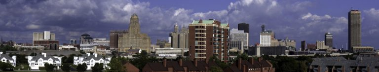 Shown is a picture of Buffalo, New York's skyline during a bright blue day